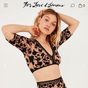 For Love & Lemons Temecula Embroidered Crop Top XS